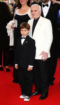 Tom Trouffier and Charles Aznavour at the premiere of