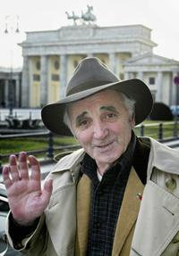 Charles Aznavour at the photocall inside Berlin's Brandenburg Gate.