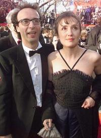 Roberto Benigni and Nicoletta Braschi at the 71st Annual Academy Awards.