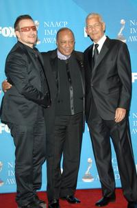 Bono, Producer Quincy Jones and Julian Bond at the 38th annual NAACP Image Awards.