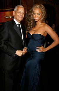 Julian Bond and Tyra Banks at the 38th annual NAACP Image Awards.