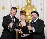 Joel Harlow, Mindy Hall and Barney Burman at the 82nd Academy Awards.