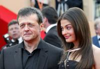 Patrice Chereau and Aishwarya Rai at the Palais des festivals during the 56th Cannes film festival.