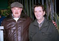 Dabney Coleman and Harry Dean Stanton pose outside Dan Tanas restaurant.