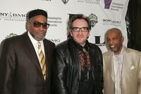 Kenneth Gamble, Elvis Costello and Leon Huff at the Gamble & Huff Pre-GRAMMY party.