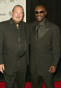 Steve Cropper and Isaac Hayes at the 2005 Songwriters Hall Of Fame induction ceremony.