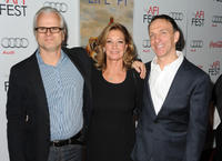 Cinematographer Claudio Miranda, President of Fox 2000 Pictures Elizabeth Gabler and Mychael Danna at the premiere of