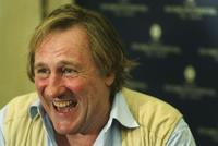 Gerard Depardieu at a press conference in Tel Aviv, Israel.