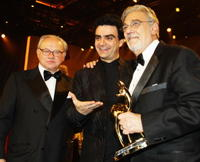 Hubert Burda, Rolando Villazon and Placido Domingo at the Bambi Awards 2008.