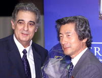 Placido Domingo and Junichiro Koizumi at the opera of Camille Saint-Saens'