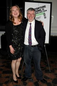 Kristine Nielsen and Christopher Durang at the Off-Broadway opening night of