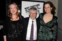 Kristine Nielsen, Christopher Durang and Sigourney Weaver at the Off-Broadway opening night of