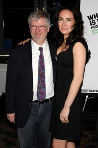 Christopher Durang and Laura Benanti at the Off-Broadway opening night of