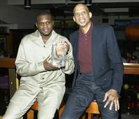 Kareem Abdul-Jabbar and Zach Randolph at the Destination Finals NBA Los Angeles Lakers viewing party.