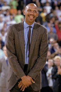 Kareem Abdul-Jabbar during his jersey retirement at the Great Western Forum.