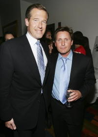 Brian Williams and Emilio Estevez at the after party of the screening of
