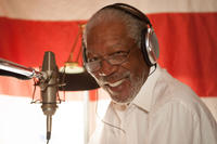 Morgan Freeman on the set of