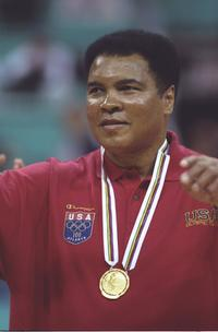 Muhammad Ali at the Yugoslavia v USA basketball game.