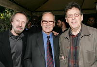 Charles Bernstein, Ennio Morricone and Philip Glass at the Society of Composers & Lyricists Annual Champagne Reception.