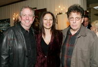 Richard Kraft, Laura Engel and Philip Glass at the Society of Composers & Lyricists Annual Champagne Reception.