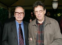 Ennio Morricone and Philip Glass at the Society of Composers & Lyricists Annual Champagne Reception.