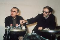 Jean-Luc Godard and Jean-Paul Sartre answering the media in Paris.