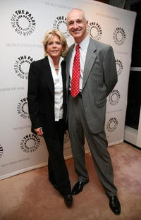 Meredith Baxter and Michael Gross at the panel discussion celebrating Gary David Goldberg's autobiography