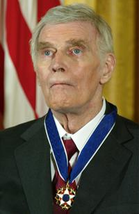 Charlton Heston at an East Room event at the White House.