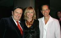 Barry Humphries, Lizzie Spender and Richard E. Grant at the opening night of the music production of