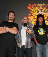 Charlie Benante, Scott Ian and Joey Belladonna at the Apple Store Soho in New York.