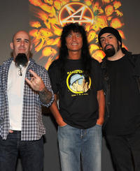 Scott Ian, Joey Belladonna and Rob Caggiano at the Apple Store Soho in New York.