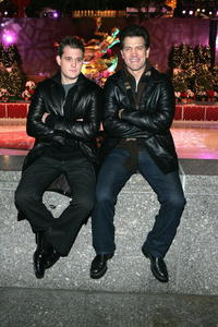 Michael Buble and Chris Isaak at the Rockefeller Center Christmas tree lighting ceremony.