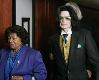 Katherine Jackson and Michael Jackson at the Santa Barbara County Courthouse.
