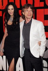 L'Wren Scott and Mick Jagger at the premiere of