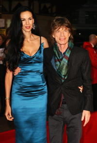 L'Wren Scott and Mick Jagger at the UK premiere of