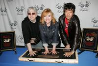 Chris Stein, Deborah Harry and Clem Burke at the induction of Blondie into Hollywood's RockWalk.