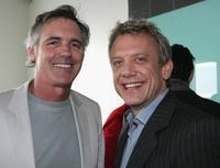 Andrew McFarlane and Simon Burke at the launch of VitaMan Skincare.
