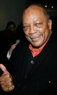 Quincy Jones at the launch of Frank Gehry's premiere jewelry collection for Tiffany & Co.