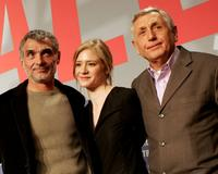 Oldrich Kaiser, Julia Jentsch and Jiri Menzel at the photocall to promote