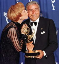 Carol Burnett and Tony Bennett at the 48th Annual Primetime Emmy Awards in Pasadena.
