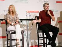 Stephen King and J.K. Rowling at the news conference for