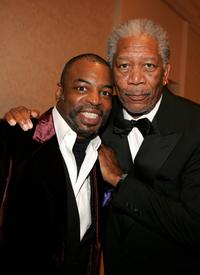 Levar Burton and Morgan Freeman at the cocktail reception during the 57th Annual DGA Awards.