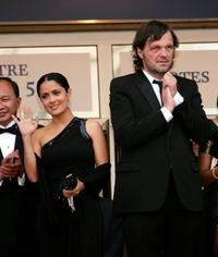 Emir Kusturica and Salma Hayek at the closing ceremony the during the 58th International Cannes Film Festival.
