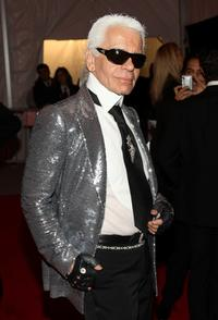 Karl Lagerfeld at the Metropolitan Museum of Art Costume Institute Gala, Superheroes: Fashion and Fantasy.