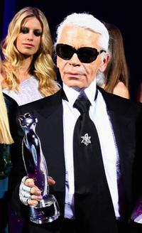 Karl Lagerfeld at the ELLE Fashion Star award ceremony during the Mercedes Benz Fashion week Spring/Summer 2009.
