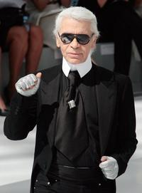 Karl Lagerfeld at the end Chanel Fall-Winter 2009 Haute Couture collection show.