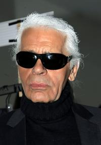 Karl Lagerfeld at the Fendi fashion show during the Milan ready-to-wear womenswear collections Autumn/Winter 2007.