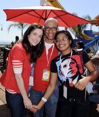 Danielle Bisutti, Ron Butler and Kiki Palmer at the Make-A-Wish Foundation event.