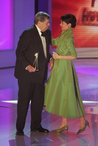 Jerry Lewis and Geraldine Chaplin at Goldene Kamera Awards.