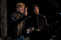 Robert Redford and James McAvoy on the set of ``The Conspirator.''